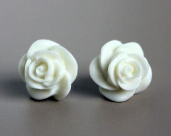 Ivory White Resin Rose Earrings on Hypoallergenic Titanium Posts/studs