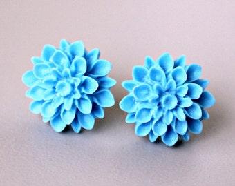 Mum Earrings, Hypoallergenic Titanium Posts with Handmade Cornflower Blue Resin Mums