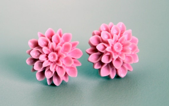 Mum Flower Earrings, Baby Pink Handmade Resin Cabochons on Hypoallergenic Titanium Posts