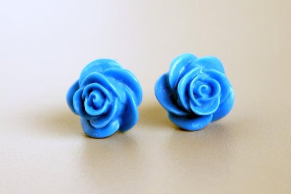 Titanium Earrings, Rose Earrings, French Blue Resin Rose Earrings on Hypoallergenic Titanium Posts