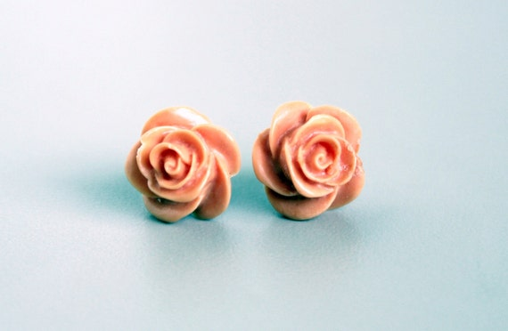 Rose Flower Earrings, Tangerine Orange Resin Cabochons on Hypoallergenic Titanium Posts/Studs