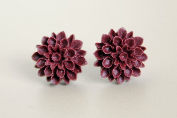 Mum Earrings, Burgundy Red Resin on Hypoallergenic Titanium Posts/Studs