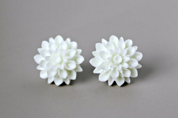 Mum Flower Earrings, Ivory White Resin with Hypoallergenic Titanium Posts/Studs