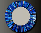 Mosaic Blue Stained Glass Mirror - Custom Order-