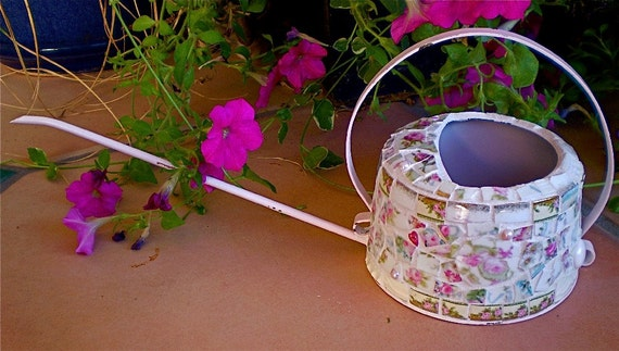 On Sale -Mosaic Vintage Delicate Pink Shabby Watering Can with Vintage China