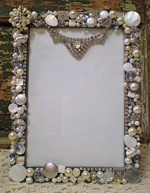 Mosaic Large Shabby Jeweled Picture Frame By