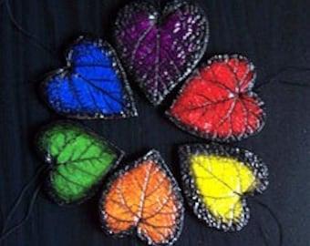 SALE!Autism & Diversity Hearts/Art/Garden Rainbow Leaf Set/Home Decor/Ornament Collection