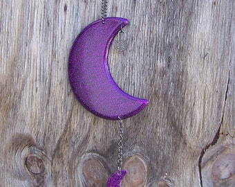Purple Glitter Lock and Key Moon