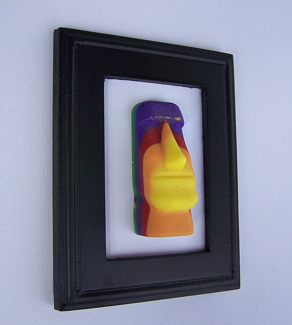 Autism/Rainbow Easter Island Head Statue Framed Sculpture/Gay Pride/Diversity/Art