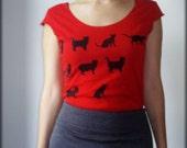 SALE-Women's red cotton t shirt- Black cats print- Size S