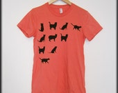 SALE-Coral color women's T shirt hand stenciled with black cats silhouettes, Size M