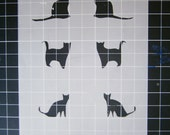 Hand cut stencil with cats and hearts pattern- Great for craft projects, DIY, stenciling
