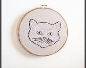 Black & white embroidered cat-One of a kind