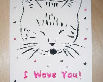Hand stenciled card, cat print, I Wove (love) You