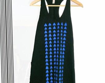 Hand stenciled black tank dress- Blue triangles print- Size S