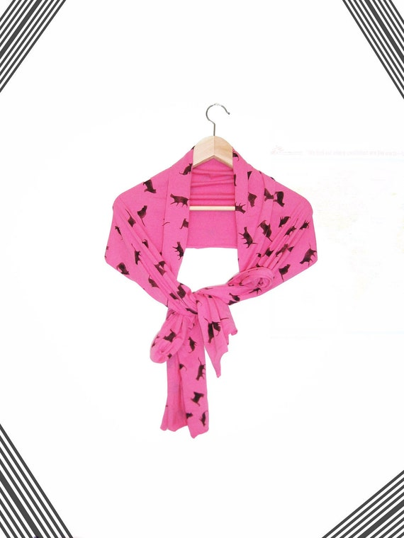 Hand Stenciled fuchsia unisex jersey scarf with black cats pattern