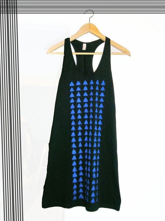 Hand stenciled black tank dress- Blue triangles print- Size S