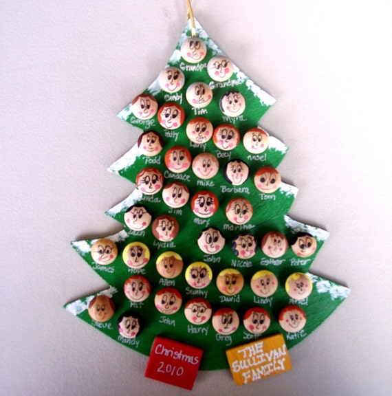 Christmas Tree Ornaments Etsy: Items Similar To Large Personalized Family Christmas Tree