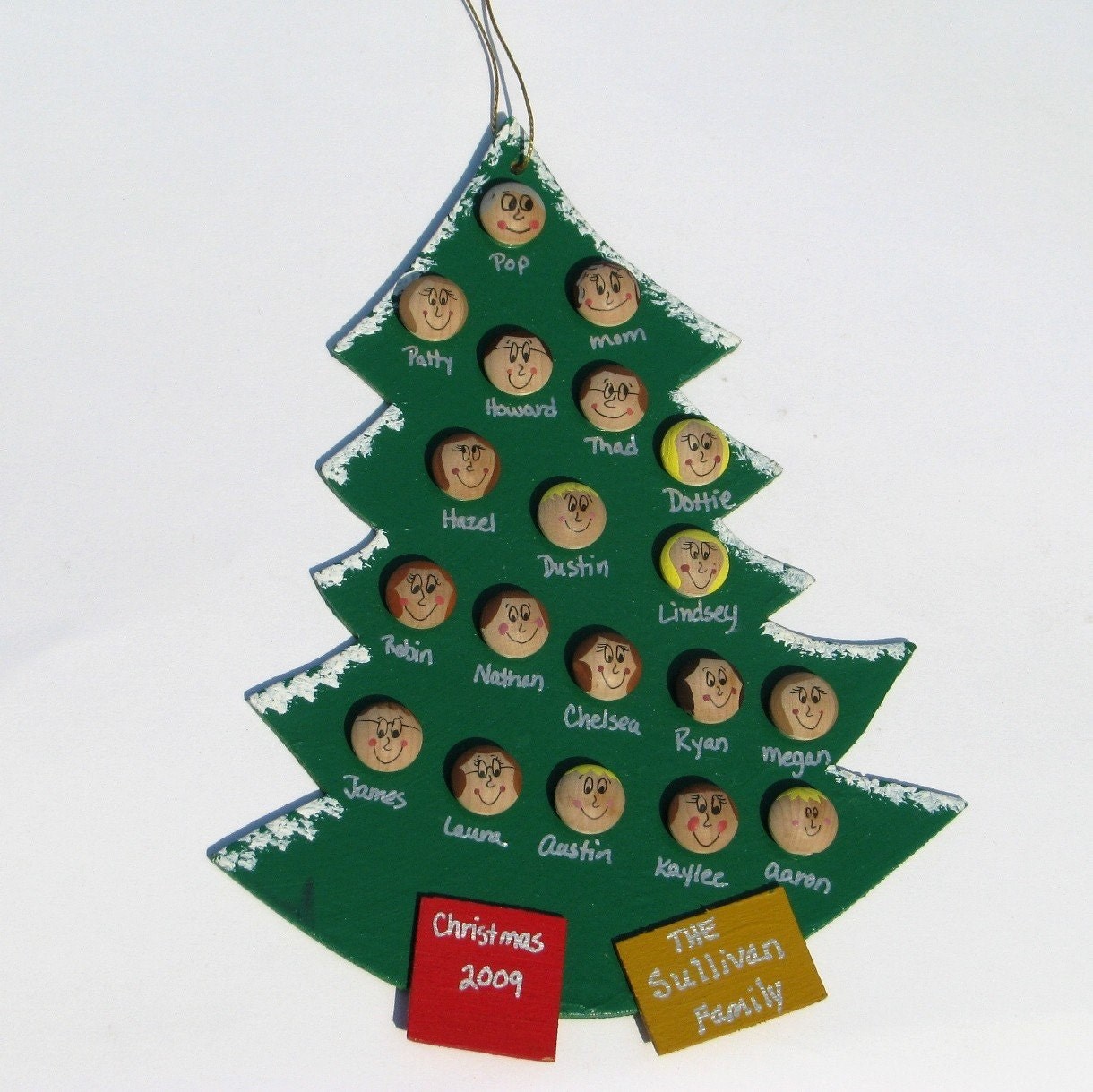 Large personalized family christmas tree ornament by for Personalized christmas photo ornaments