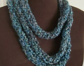 Soft Skinny Scarf in Blues and Grays with a Hint of Green
