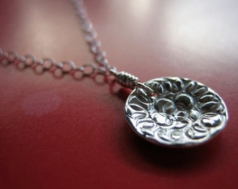 Tiny Damask Rose Sterling Silver Necklace