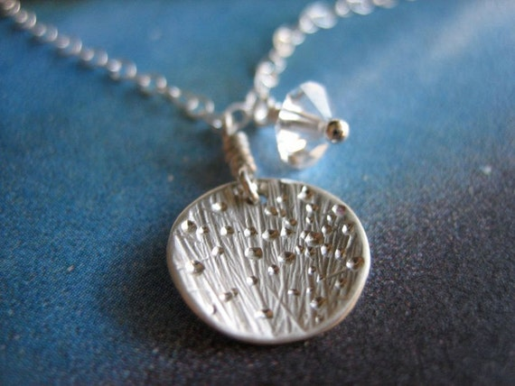Tiny Starburst Galaxy Sterling Silver Crystal Necklace