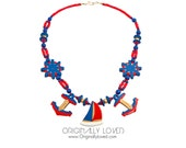 NOS Vintage 80s Rare Exotic Nautical Colorful Red Blue Gold Necklace