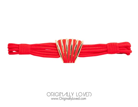 Vintage 80s Red Gold Metal Shell Runway Rope Belt