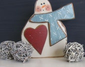 Winter Decor-Primitive Snowman Shelf Sitter-Disply December To February-Great Teacher Gift