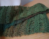 "Hand Knit Scarf- ""Rainforest"" Stunning Colors, open-work airy feel, Dramatic Accessory,gifts for women"
