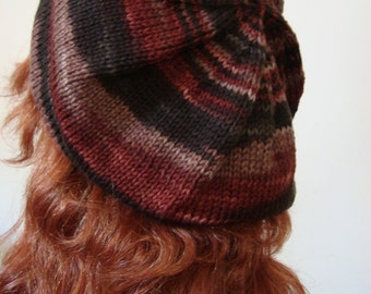 Hand Knit Beret, Extra Slouchy, Knit in Walnut Swirl,Perfect Winter Fashion Accessory, gifts for her