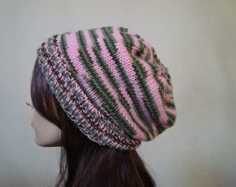 """Hand Knit Slouchy Beanie Hat  """"Pink Camouflage"""" Fits Women and Teens, gifts for her"""