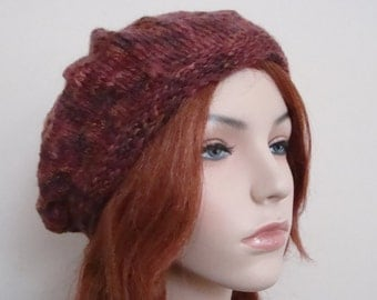 """Hand Knit Slouchy Hat-Beautiful Italian Wool, """"Berry Wine"""" so soft, Lovely Accessory, gifts for her"""
