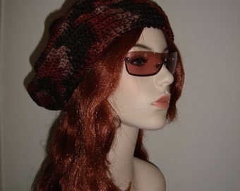 """Hand Crocheted Hipster Beret in """"Expresso"""" Rich Coffee Hues, gifts for her"""