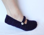 Women's Crochet Mary Jane Slippers - with Adjustable Button (Purple) U.S. FREESHIPPING