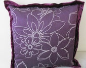 Purple flower hand painted silk 16x16 inches cushion cover