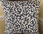 Coral beauty 18x18  inches throw pillow cover in cream and navy coral print