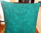 Green envy - 18x18 inches throw pillow cover in green teal silk with black sketched print