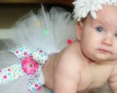 White Pom Pom Tutu Skirt for Baby or Toddler with Ribbon and Flower