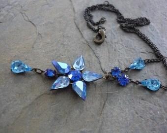 Flower Necklace, Blue Flower Pendant, Blue Swarovski Crystals, Brass Chain, Blue Flower Necklace, Romantic Necklace, Romantic Blue Necklace.