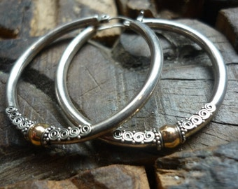 Sterling Silver hoop Earrings, Silver Gold Earrings, large Hoop Earrings, Filigree Earrings, Mixed Metal Hoop Earrings, two tones EF801.35