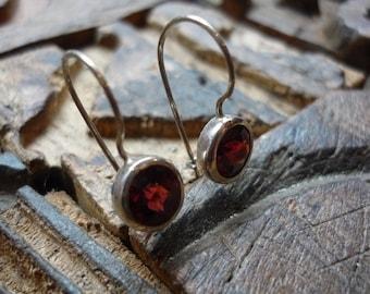 Garnet Earrings, Sterling Silver Earrings, Silver Hook Earrings, Simple Earrings, Red Stone Earrings, casual Earrings, boho FUEP192.5GR-D