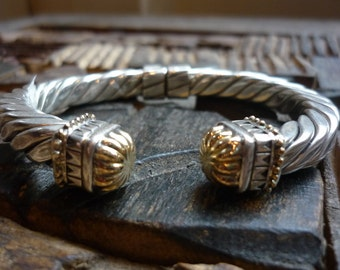 Sterling silver gold cuff, two tone cuff, flexible hinge cuff, cable cuff, vintage cuff, elegant cuff, bridal jewelry, boho bracelet