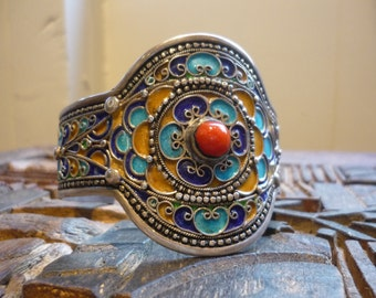 Vintage Sterling Silver Cuff, Vintage Statement Cuff, Colorful Statement Bracelet, Silver and Enamel Cuff, Silver and Coral Stone Bracelet