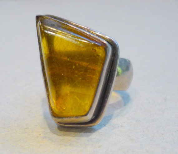 Sterling silver amber stone ring - vintage Moroccan amber ring