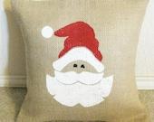 SANTA CLAUS Christmas Burlap Pillow Slip Cover - We Do Custom Orders