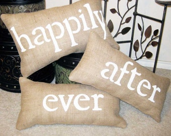 Happily Ever After Pillow, Wedding Pillow, Wedding Gift,  Burlap Pillow, Happily Ever After, Throw Pillow, Bedroom Pillow, Burlap Wedding