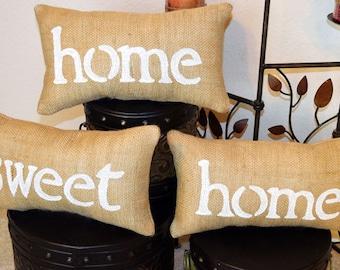 Home Sweet Home Burlap Pillow Set, Burlap Pillow, Mothers Day Gift, Home Decor, Home Pillow, Couch Pillow, Throw Pillow, Porch Pillow