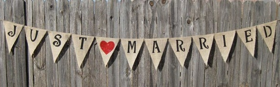 JUST MARRIED Burlap Banner Wedding Rustic Bunting- We Do Custom Banners - Party Photo Prop