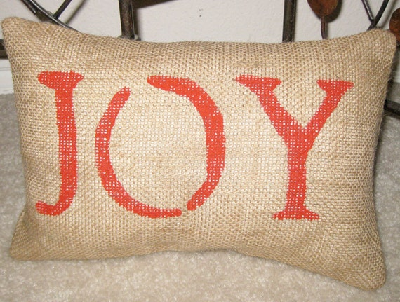 JOY Christmas Pillow Burlap Rustic Christmas Decoration - We Welcome Custom Orders